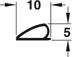 P-profil 10X5 mm Hvit TPE - 6 meter
