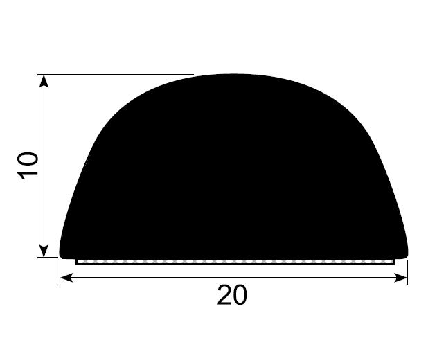 Trimlist / veggbeskytter 20x10 mm sort - Løpemeter