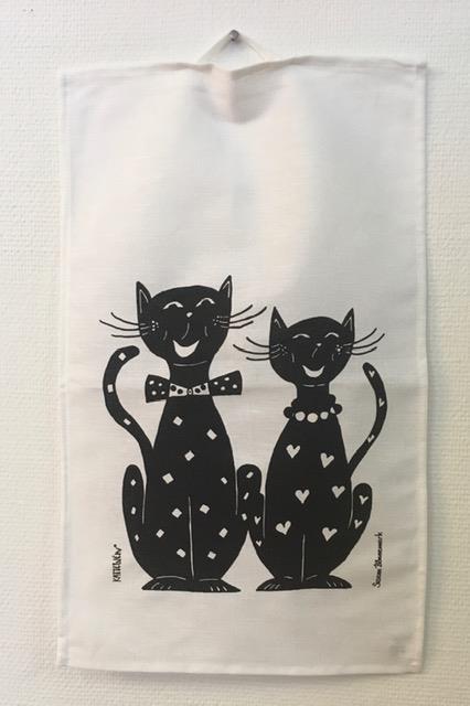 Handduk med glada katter