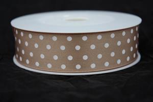 Band 25 mm 20 m/r natural med vita prickar