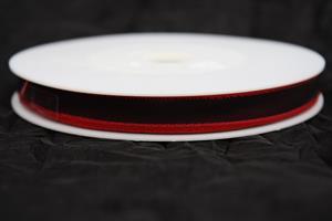 Band 10 mm 25 m/r mörkröd taft med tråd
