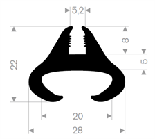 Klemprofil 5,2+20 mm EPDM Sort - Løpemeter