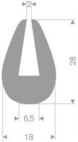 U-profil 6,5/18x28 mm grå TPE - Løpemeter