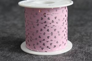 Presentsnöre poly 10 mm 100 m/r rosa/hjärta