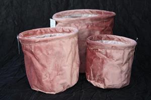 Textilkruka sammet rosa olika storlekar