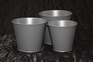 Plåtkruka slät grå olika storlekar