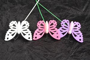 Fjäril på pinne 3 stilar 24/fp