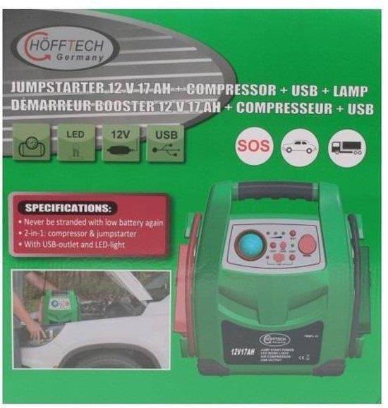 Jumpstarter 12 volt 17 ah + kompressor