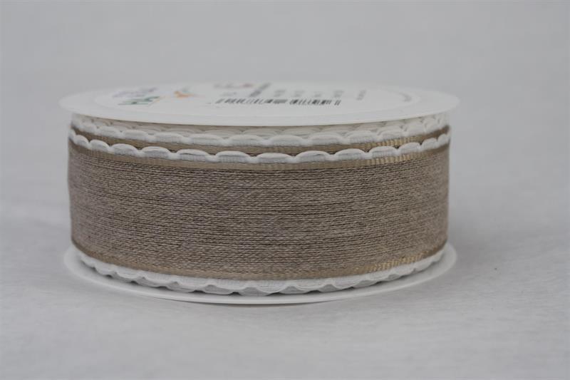 Band 35 mm 15 m/r linne vit kant med tråd
