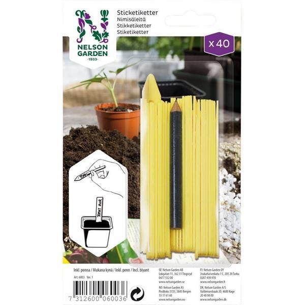 Sticketikett gul plast m. penna, 40 st