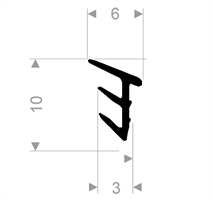 Glasspakning 6x10 mm sort EPDM - Løpemeter