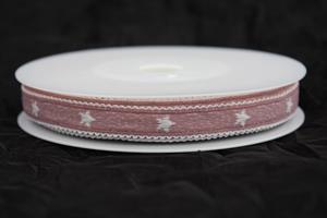 Band 12 mm 15 m/r rosa/vit stjärna