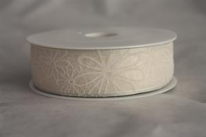 Band 25 mm 20 m/r transp. cream bl. med tråd