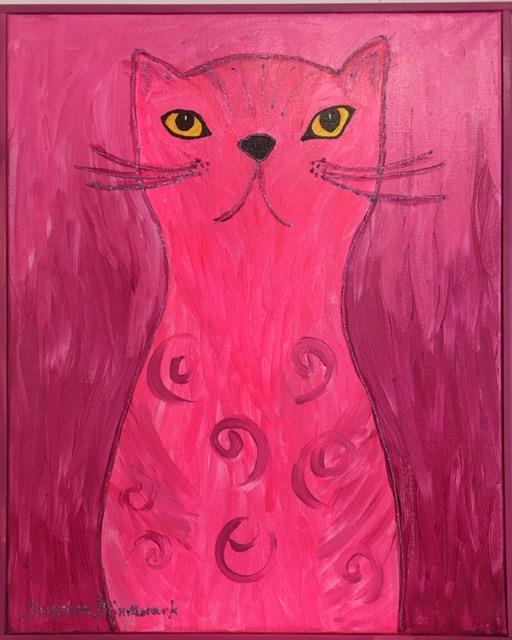 Tavla på rosa katt