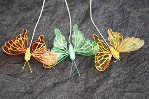 Fjäril guld/grön glitter 12/fp