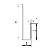 Speilskinne 7/9x35 mm alu - 240 cm