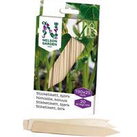 Sticketikett trä 13 cm, 20 st