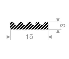 E-profil tetningslist 15x3 mm sort - Løpemeter
