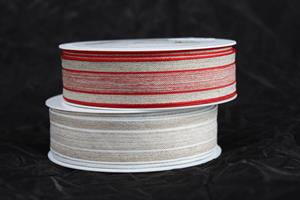 Band natur/vit med tråd olika färger