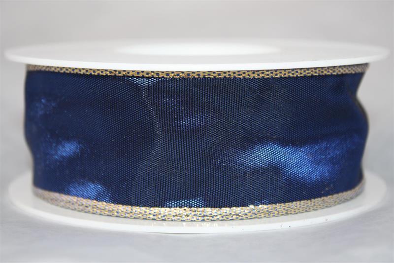 Band 40 mm 25 m/r blå/silverkant med tråd