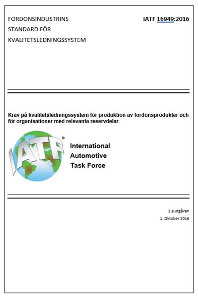 Standard IATF 16949:2016 SWE