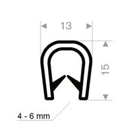 Kantprofil 13x15 mm sort (4-6 mm) - Løpemeter