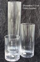 Glasvas cylinder diameter 12cm olika höjd