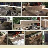 Bilder från arbetets gång. Bearbetning och tillverkning av syllstock/fotträ, längd- och hörnskarv, löshult med laxstjärt och topp av korsvirkesstolpe.