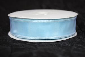 Band 25 mm 25 m/r taft ljusblå med tråd