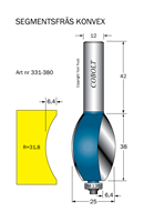 Segmentfräs R=31.8 L=38 F=6 S=12