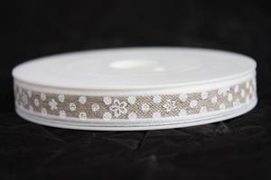 Band 10 mm 15 m/r linne/vit 13 med tråd