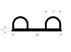 B-profil 36x12 mm sort EPDM - Løpemeter