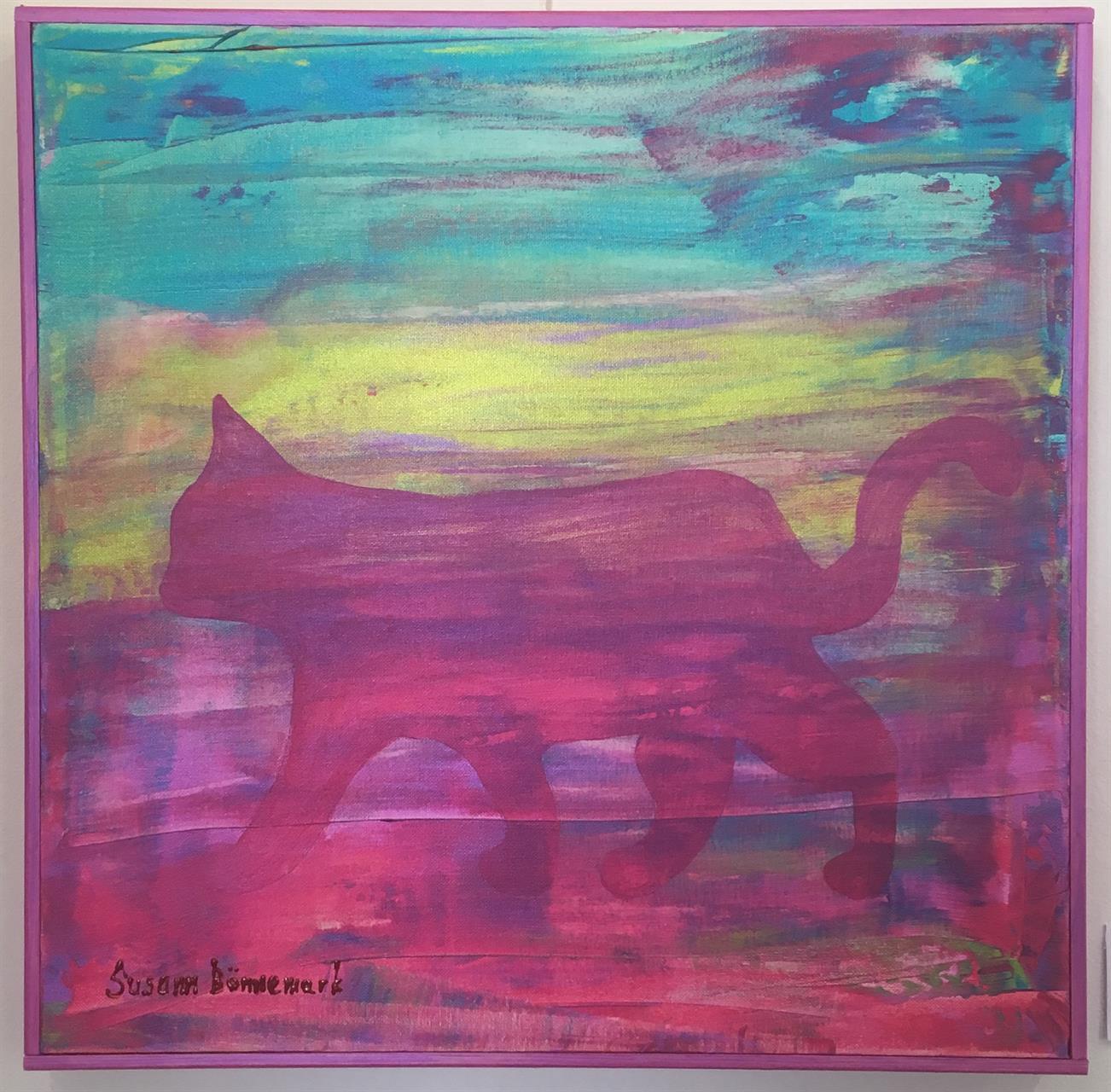 Tavla med rosa katt i dimma