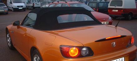 Sufflett Honda S-2000 00-01 tyg svart värmeglas
