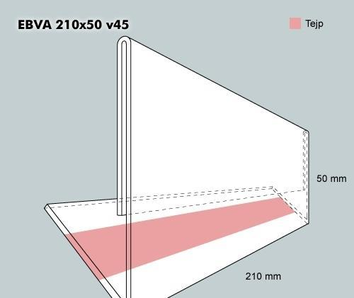 Etiketthållare EBVA 210-50F vinklad 45°