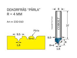 Dekorfräs Pärla R=4 D=9.5 S=8