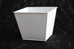 Plåtkruka 4-kantig slät vit 13x13cm