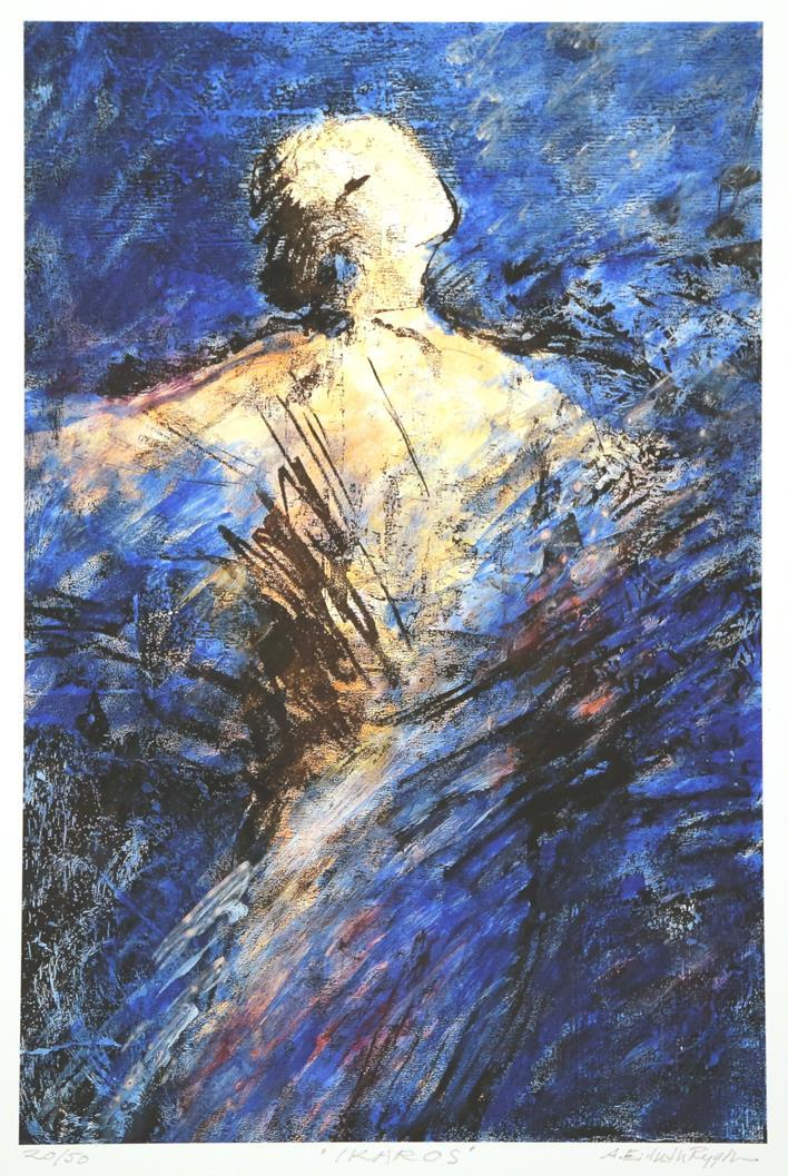 """Ikaros"" blå variant, litografi"