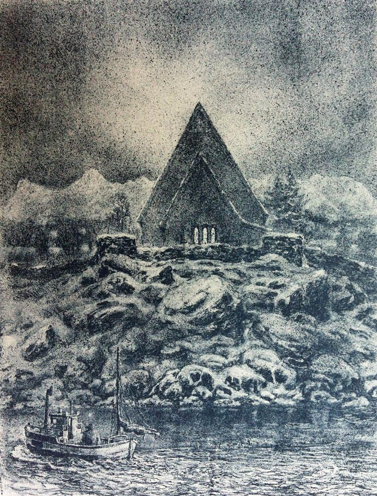 """Trondenes Kirke"", litografi 54,5 x 41,5 cm."