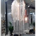 Lampe med strutsefjær, krystall og glass
