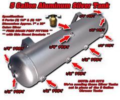 Air ride.Tank.5 gal. Silver aluminium.16x73cm