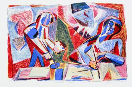"""Atelier-scene"", litografi 32 x 49 cm."