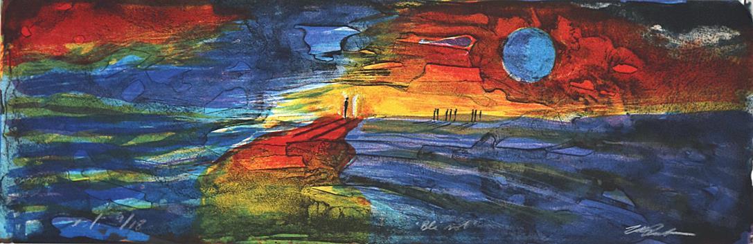 """Blå sol"", litografi 13 x 39,5 cm."