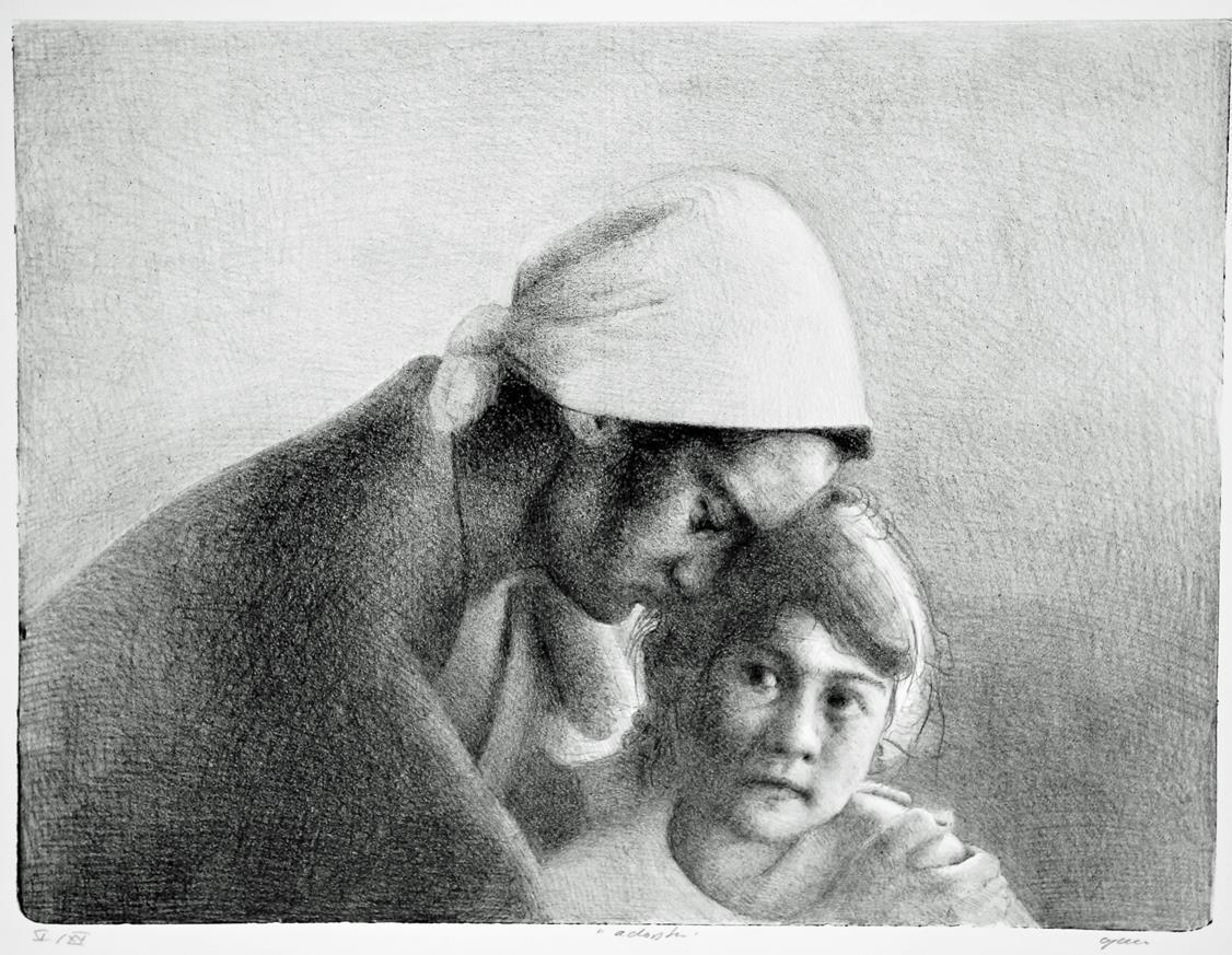 Adopsion, litografi 40 x 43,5 cm.