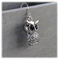 Ugle ørepynt med bling, ørekrok i ekte sølv, 34mm