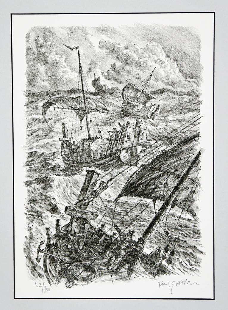 """Jektefart"", litografi  38 x 26 cm."