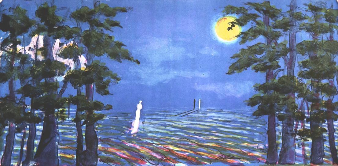 """Nordic Noir måne"", litografi 31 x 62 cm."