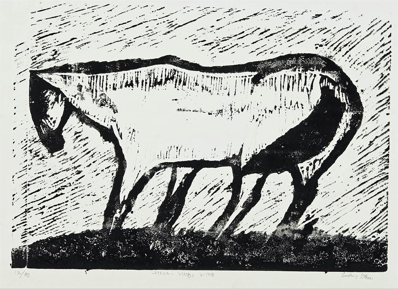 """""""Hest i vind"""" tresnitt 1953, 12/40, 47 x 68 cm."""