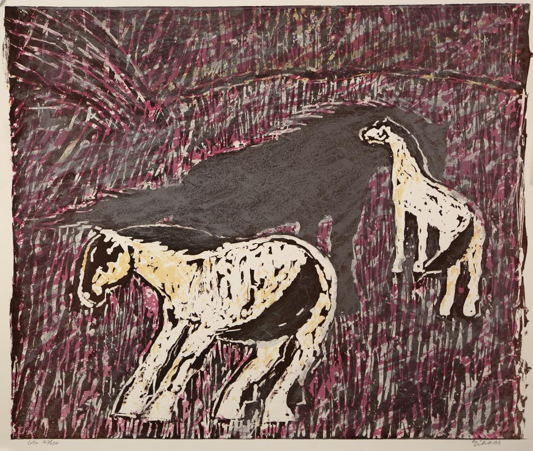 """Hester i vind"", litografi 163/250, 53 x 64 cm."