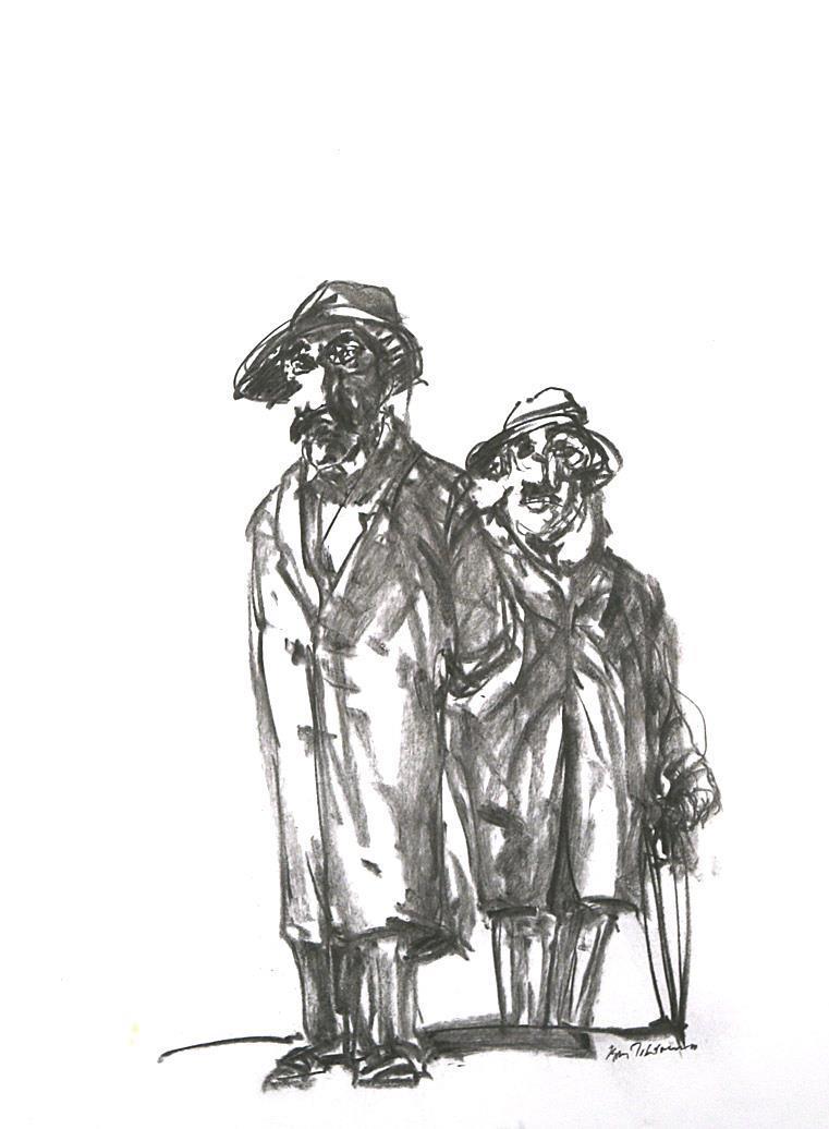 """"""" To herrer """" kullstift-tegning 2016 60 x 42 cm."""